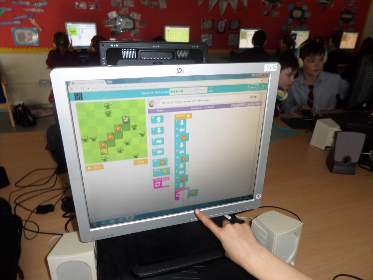 Coding activities in 3rd class Ms. O'Halloran
