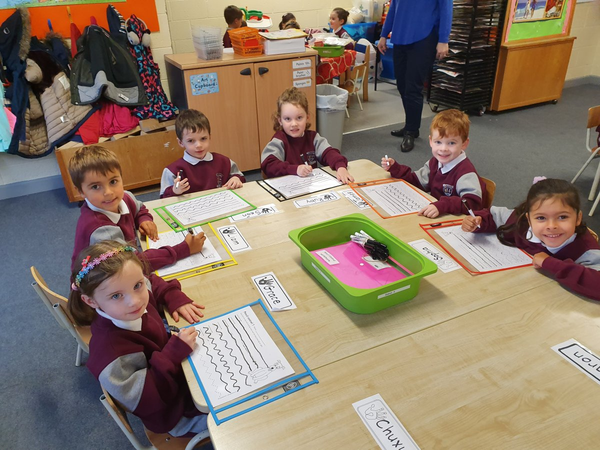 Literacy stations in Junior Infants Room 3 & 4